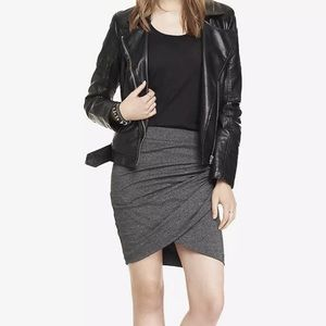 EXPRESS Marled Side Ruched Gray Mini Skirt